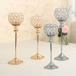 Wholesale Tea Light Candlestick Lamp - Crystal Candle Holders Metal Silver Candlestick Wedding Candle Stand Centerpieces 30 & 35cm Tall Christmas Home Decoration Candelabra