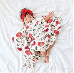 Wholesale Bamboo Sheets Bedding - 120*120cm bamboo cotton flowers flamingo fox rose feather Gauze towel bath towel newborn swaddle blanket throw Bed sheets kids