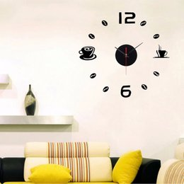 Wholesale Coffee Cup Clocks - Wholesale-DIY Wall Clocks Modern Coffee Cups Design Home Decor Living Room Kitchen Clock
