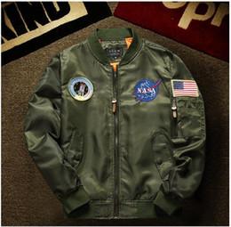 Wholesale Spring Military Jacket Men - THIN nasa ma1 bomber jacket air force mens spring baseball jackets men sofeshell military Embroidery jaqueta masculina casaco masculino
