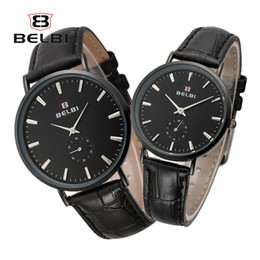 Wholesale Wholesale Fashion Belts China - BELBI Luxury Couple Watches Leather Quartz Battery Men Women Wristwatches Fashion Simple Dial AAA Waterproof China Brand Watch