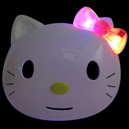 wholesale 1pcs hello kitty led kids toys lovely full face plastic cosplay mask halloween decoration toys s50 uk