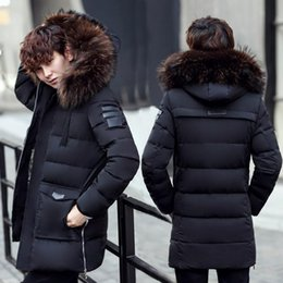 Wholesale Male Heavy Collar - Fashion- Nice Male Cryogenic Cotton Coat Solid Slim Hooded Winter Jacket Men Heavy Fur Collar Medium-long Outerwear Thicken Warm Parka