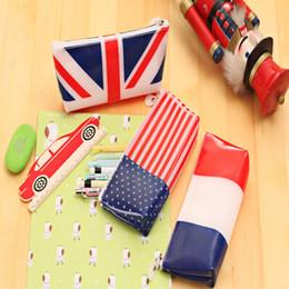 2019 gelatina al por mayor Al por mayor -New flag jalea lápiz bolsa bandera de Estados Unidos bandera del Reino Unido bolsas de lápiz bandera francesa bolso de papelería A0747 gelatina al por mayor baratos