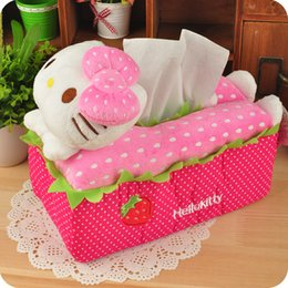 Wholesale Cloth Covered Storage Boxes - Wholesale- Cartoon Hello Kitty Tissue Pumping Sets Storage Box Cloth Tissue Box Cover Napkin Holder Room Car Sofa Tissue Case Home Decor