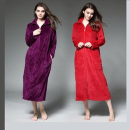 Wholesale Top Robes For Women - Wholesale- Winter loves bathrobes cotton dressing gowns for women thicker longer section zipper flannel robe men plus size Sleep Tops