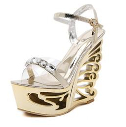 Wholesale Transparent Platform Heels - Fashion Crystal Gladiator Sandals New Bling Sexy High Heels Platform Wedges Transparent Sandals Casual Gold Sliver Shoes Woman Large Size