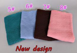 Wholesale Crinkled Scarves - 16 Colors New Design printe Solid Color Crinkled Crumple Shawls Headband Viscose Wrinkle Floral Hijab Wrap Elastic Muslim Scarves scarf 2017