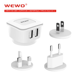 Wholesale Portable Usb Mobile Charger - WEWO Mobile Phone Charger 2.4A EU US UK Plug 3 Ports USB Charger Portable Travel Charger Adapter For ipad Smart Phone Charger