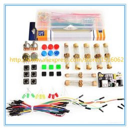 Wholesale Flexible Light Box - Wholesale- generic parts package For Arduino kit + 3.3V 5V power module+MB-102 830 points Breadboard +65 Flexible cables+ jumper wire box