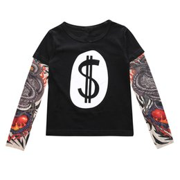 Wholesale Tattoos Sleeves Patterns - INS Kids Autumn Baby Clothes Boys Girls Long Sleeve T-shirt Patchwork Hip Hop Tattoo Sleeve Tops Tees Children Kids Clothing 8 Patterns 363