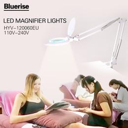 Wholesale Dental Glasses - Wholesale- BlueriseLED Light Lamp White EU Plug Desktop Folding Magnifying Glass Nail Beauty Tatoo Dental Hospital Flexible Table Lamp