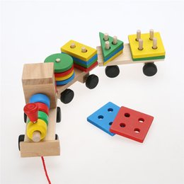 Wholesale Wooden Blocks Free Shipping - Wholesale- New Arrival Educational Kid Baby Wooden Solid Wood Stacking Train Toddler Block Toy Free Shipping
