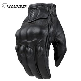 Wholesale Men S Brown Leather Gloves - Top Guantes Fashion Glove real Leather Full Finger Black moto men Motorcycle Gloves Motorcycle Protective Gears Motocross Glove