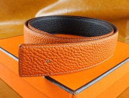 Wholesale Girls Brown Leather Belts - New Fashion Men Business Belts Luxury Ceinture Smooth Gold Silver Buckle Genuine Leather Belts For Men Waist Belt Free Shipping