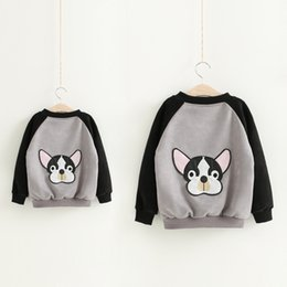 Wholesale Dog Outwear - Mother and kids clothes boys girls cute dog printed jacket womens cartoon printed deer velvet zipper outwear 2017 family autumn coat T5032