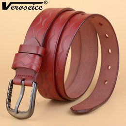 Wholesale Wholesale Leather Belt Straps - Wholesale- [Veroseice] 2017 New Genuine Leather Women Belt Top Quality Strap Female Handcrafted Belts for Women Cowhide Cinto Waistband