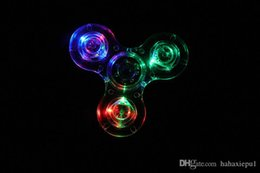 Wholesale Big Clear Plastic - Acrylic ABS LED Luminous Glitter Jelly Clear Fidget Spinner Crystal Hand Spinner Light up Tri Fidget spinners