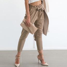 2017 Nuevas mujeres de la gasa de cintura alta pantalones harem pajarita pantalones femeninos bolsillos elásticos de la cintura pantalones sueltos ocasionales pantalones desde fabricantes