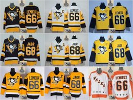 Wholesale Nylon 66 - Stitched NHL Pittsburgh Penguins #66 Mario Lemieux # 68 Jaromir Jagr White Black Yellow Hockey Jerseys Ice Jersey do Drop Shipping,Mix Order