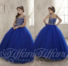 sweetheart ball gowns Canada - 2017 New Royal Blue Junior Pre-teen Girls Pageant Dresses Sweetheart Crystal Beaded Ball Gown Long Corset Kids Flower Girls Dress