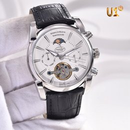 Wholesale Mens Watches Automatic Moon - 3 Styles 42MM Tonda Tourbillon Moon Phase Automatic Mens Watch Watches With Week Month Dial Transparent Glass Back
