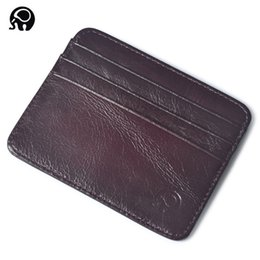 Wholesale Real Gold Credit Card - New Genuine Leather Unisex Card Holder Slim Card Case Compact Wallet Color Assorted Real Leather Men Women Wallets Mini Zero Wallet