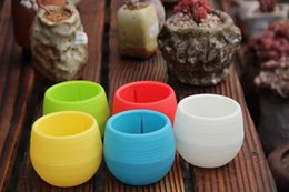 Wholesale Pots For Flowers - 0 45sj Colorful Mini Planter Pots Recycled Plastic Pot Perfect For Succulents Flowerpot Strong Reusable Plant Flower Herb Bed Flowerpots