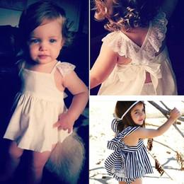 Wholesale White Sling Dress - INS Baby Kids stripe Clothing Adorable Girls Princess White Blue lace sling Dress + PP pants 2pcs Sets suit Babies Tops Pants B001