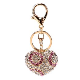 Wholesale Blue Heart Diamond Pendant - 2017 fashion heart shaped imitation diamond key chains alloy weave bell penden bohemia girl bag pendant creative key chain for women jewelry