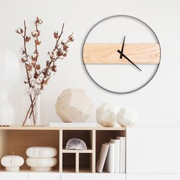 Wholesale Unique Wall Lights - Natural Wall Murals Clock Brief StyleWall Clock Wooden Decor Large Round Unique Clock 16inch for Living Room