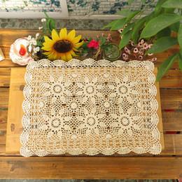 tovaglia all'ingrosso del cotone Sconti All'ingrosso- yazi Handmade Cotton Hollow Floral Placemat Thread Crochet Table Mat Tovaglie 40x60cm