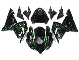 Wholesale Kawasaki Ninja Fairings For Sale - Hot sales New ABS motorcycle Fairing Kits 100% Fit For kawasaki Ninja ZX-10R ZX10R 04-05 2004 2005 10R bodywork set black green flame