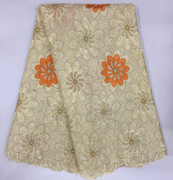 Wholesale Lace Dresses Switzerland - Beige Swiss Voile lace With Stones African Fabric 100% Cotton Material in switzerland Hot Sale for Sewing Dress