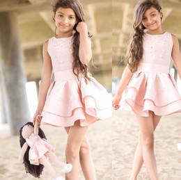 Wholesale Mini Skirts Satin Girls - Cute Pink Satin Flower Girls Dresses Jewel Pearl Tiered Skirt Short Mini Beach Children Birthday Party Dresses Girls Pageant Dresses