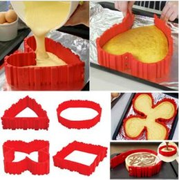 Wholesale Square Baking Moulds - Cake Bake Snake 4pcs set Cooking Moulds Cake Mold DIY Silicone Cake Baking Square Round Shape Mold Magic Bakeware Tools CCA5925 50lot