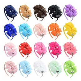 Wholesale Stretchy Nylon Ribbon - 1piece baby girls Grosgrain ribbon hair bow hairband bowknot handmade stretchy soft nylon headband kids gifts Hair accessories SEN212