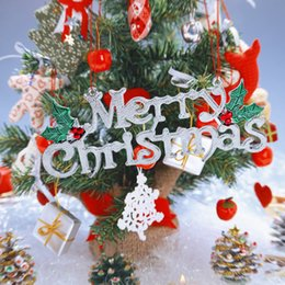 Wholesale Gold Home Accessories - 3D Shiny Alphabet Christmas Tree Decoration for Xmas Hanging Ornament Party Accessories Home Festival Ornaments Hanging Gift free shipping