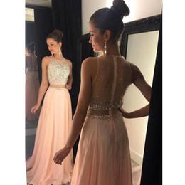 2019 multi abito colorato 2019 Sexy Vedere attraverso la parte posteriore Chiffon in due pezzi Prom Dresses Beaded Crystal Paillettes Jewel Off Shlouder Prom Gown