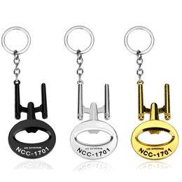 Wholesale Iron Keyring - Star Trek Bottle Opener Keychain USS Enterprise model Keyring Key chain ring jewelry fashion pendant fans souvenirs S201722
