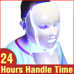 Wholesale Skin Care Light Therapy - 7 Colors Lights Led Facial Mask Face Skin Care Led Light Therapy Led Photon Facial PDT Facial Neck Mask Skin Rejuvenation Beauty Therapy