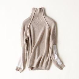 Wholesale Knit Mink Coats - Wholesale- mink cashmere women's fashion pullover sweater coat turtleneck patchwork sleeve one&over size
