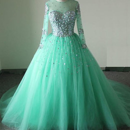 Wholesale Turquoise Beaded Gowns - Stunning Puffy Prom Dress Ball Gown Turquoise Sheer Jewel Neck Illusion Long Sleeves Crystals Tulle Quinceanera Formal Gowns Custom Made