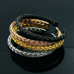 Wholesale wire bracelet cuff - BC Titanium steel jewelry Wholesale factory wire Bangles tails into the four-color simple wild accessories bracelet