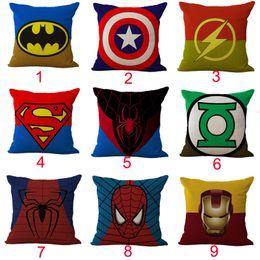 Wholesale superhero cases - Superhero Captain America Iron Man Spiderman Pillow Case Cushion cover Linen Cotton Throw Pillowcases sofa Bed Car Decorative Pillow covers