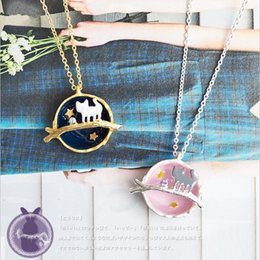 Wholesale Cute Japanese Jewelry - European and American foreign trade original single jewelry new cute Japanese universe exquisite gem kitten long necklace female