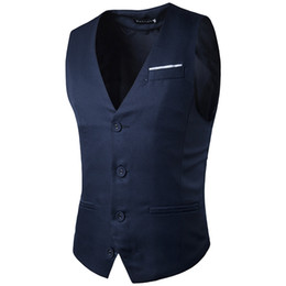 Entreprise de barre en Ligne-Vente en gros - Veste à manches sans manches Veste Manteau Vêtements mâle Slim Fit Robe solide Groom Gilets Business Social Bar Wedding Waistcoat Z10