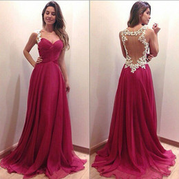 Wholesale Dress Design Chiffon - Hollow A Line Evening Dresses 2017 Latest Design Formal Gowns See Through Pleated Custom Made A Line Sweep Train Chiffon