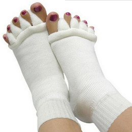 Wholesale Massage Socks Health - Wholesale- Sleeping Health Foot Care Massage Toe Socks Five Fingers Toes Compression Treatment of Bending Deformation for women men's sock