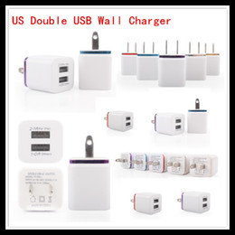 Wholesale Color Travel Wall Charger - Factory Sales US Plug Color Ring Metal Dual USB Wall Charger Travel Fast Chargers for iPhone 5S Samsung 5S Note LG Tablet ipad